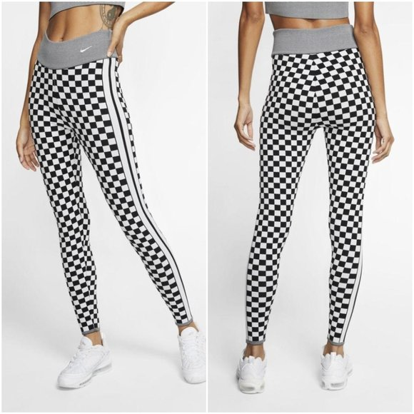 Checkered Knit Leggings Tights